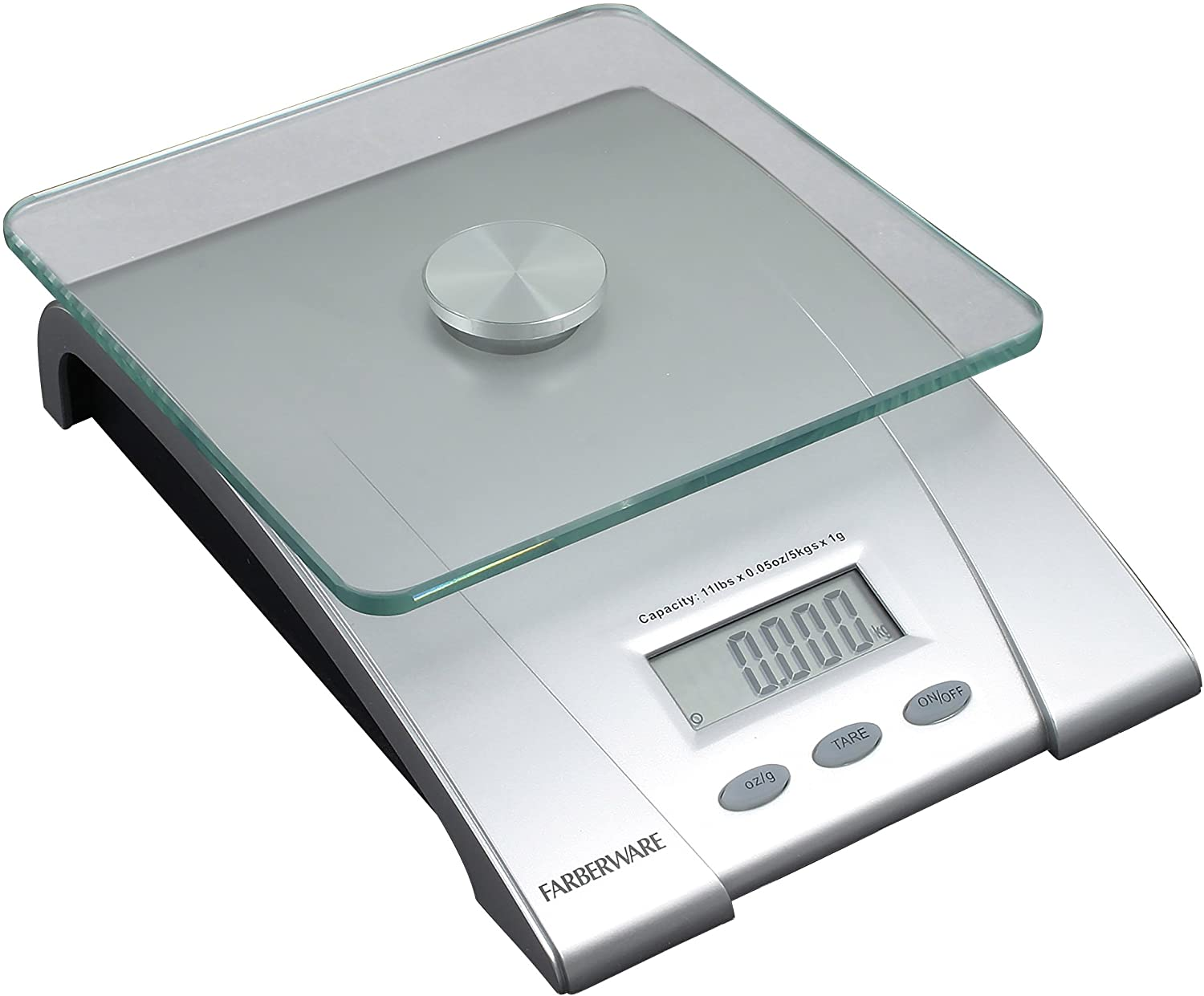Amazon Com Farberware Professional Electronic Glass Kitchen And Food Scale 11 Pound Silver 5083276 Peelers Kitchen Dining