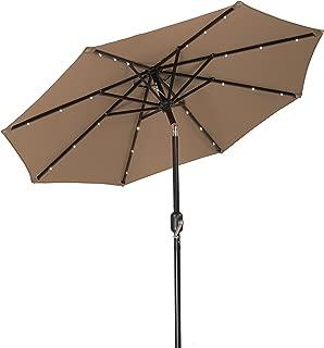 Trademark Innovations Solar LED Patio Umbrella, Tan, 7'
