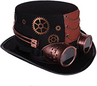 2ccf094e6d6ee9 Arsimus Large Steampunk Hat with Goggles & Gears Burning Man Victorian Top  Hat