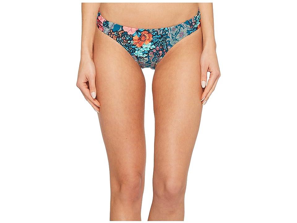 Laundry by Shelli Segal Floral Paisley Tab Side Hipster Bikini Bottom (Deep Teal) Women