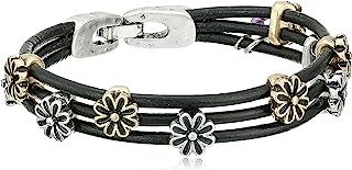 Two-Tone Flower Woven Bracelet, 7.5