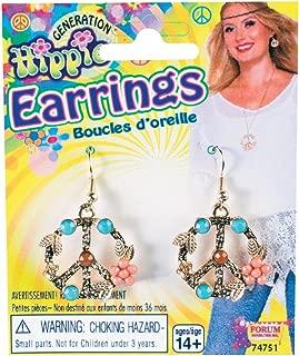 Forum Novelties Leafy Flower Hippie Peace Sign Earrings