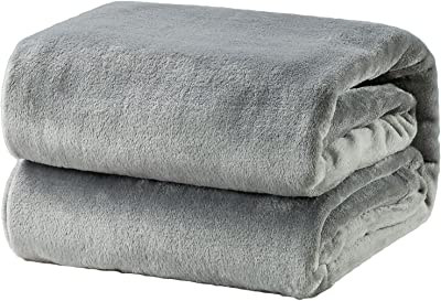 Bedsure 毛布 ブランケット シングル フランネル グレー フリース 洗える プレミアム マイクロファイバー 140x200cm あったかい オールシーズン 暖かい おしゃれ 薄手 軽量 柔らかく肌触り