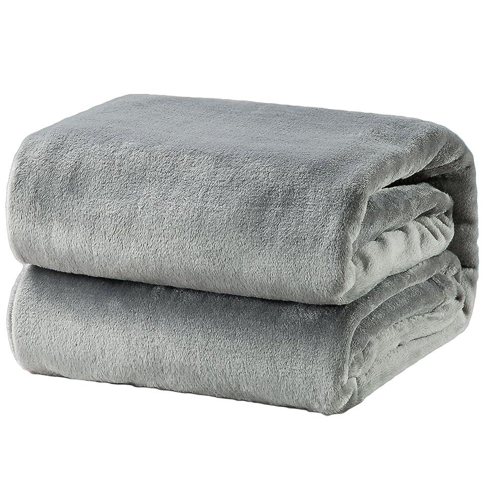 試験メッシュ乱用Bedsure 毛布 ブランケット シングル フランネル グレー おしゃれ 薄手毛布 軽量毛布 プレミアムマイクロファイバー 140x200cm あったかい オールシーズン 柔らかく肌触り 洗える ライト グレー