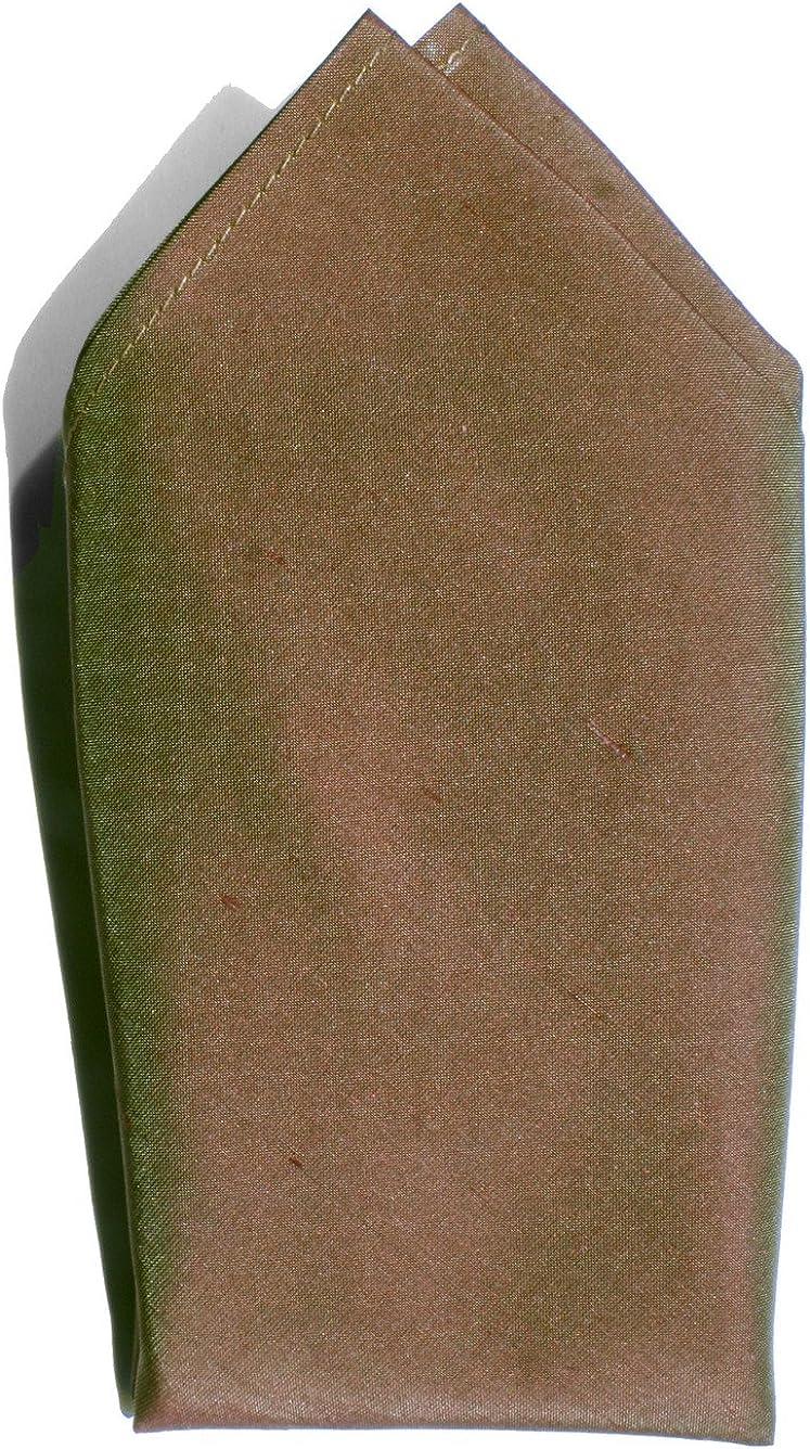 Iridescent Copper Green Dupioni Silk Handkerchief - Full-Sized 16