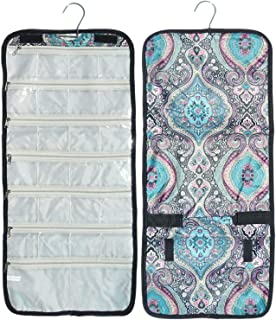 Best Blue Damask Hanging Jewelry Hanger Travel Bag Roll Organizer Trendy Stocking Stuffer New Fun Cool Special Cute Themed Birthday Gift Idea 2019Her Teen Girl Nurse Wife Mom BFF
