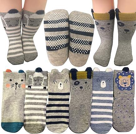 婴儿袜 6 双防滑 12-36 个月 男童 女童 幼童 防滑拖鞋 弹力袜 鞋袜 运动鞋袜