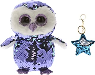 TY Flippables Reverse Sequin Stuffed Animal Beanie Boo Plush Toy Regular Sized (6 inch) - Limited Availability - with One Keychain (Moonlight The Owl)
