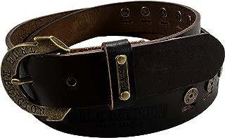 Womens True Religion Jeans Leather Belt Brown Studded Embossed Hardware Logo Horseshoe Buckle