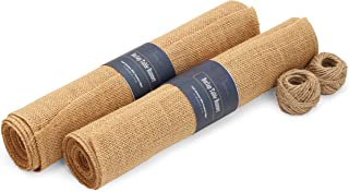 """SPOCCASIO Gold Glitter Burlap Table Runner - 12"""" x 108"""" Long Natural Brown Tan Jute Fabric Gold Sparkle Runner for Spring ..."""
