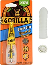 Gorilla 7500101 Super Glue Brush & Nozzle, 10 g, Clear With Disposable Latex Finger Cots Rubber Fingertips