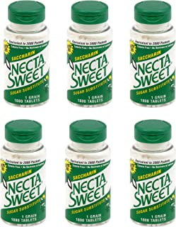 Necta Sweet 1-Grain Saccharin Tablets - Zero-Calorie Sugar Substitutes (6-Pack 1,000-Tablet Bottle)
