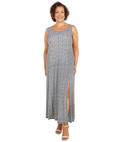 MICHAEL Michael Kors Plus Size Paisley Geo Scoop Neck Maxi (Black/White) Women