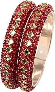 Touchstone Indian Bollywood Choice Mughal Kundan Polki Look Meenakari Faux Hand Woven Silk Thread Colorful Rhinestone Desi...