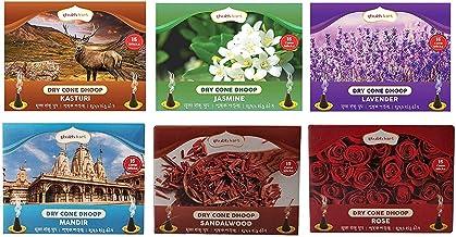 Shubhkart Dry Cone Dhoop (Pack of 5+1) Kasturi, Jasmine, Lavender, Mandir, Sandalwood, Rose