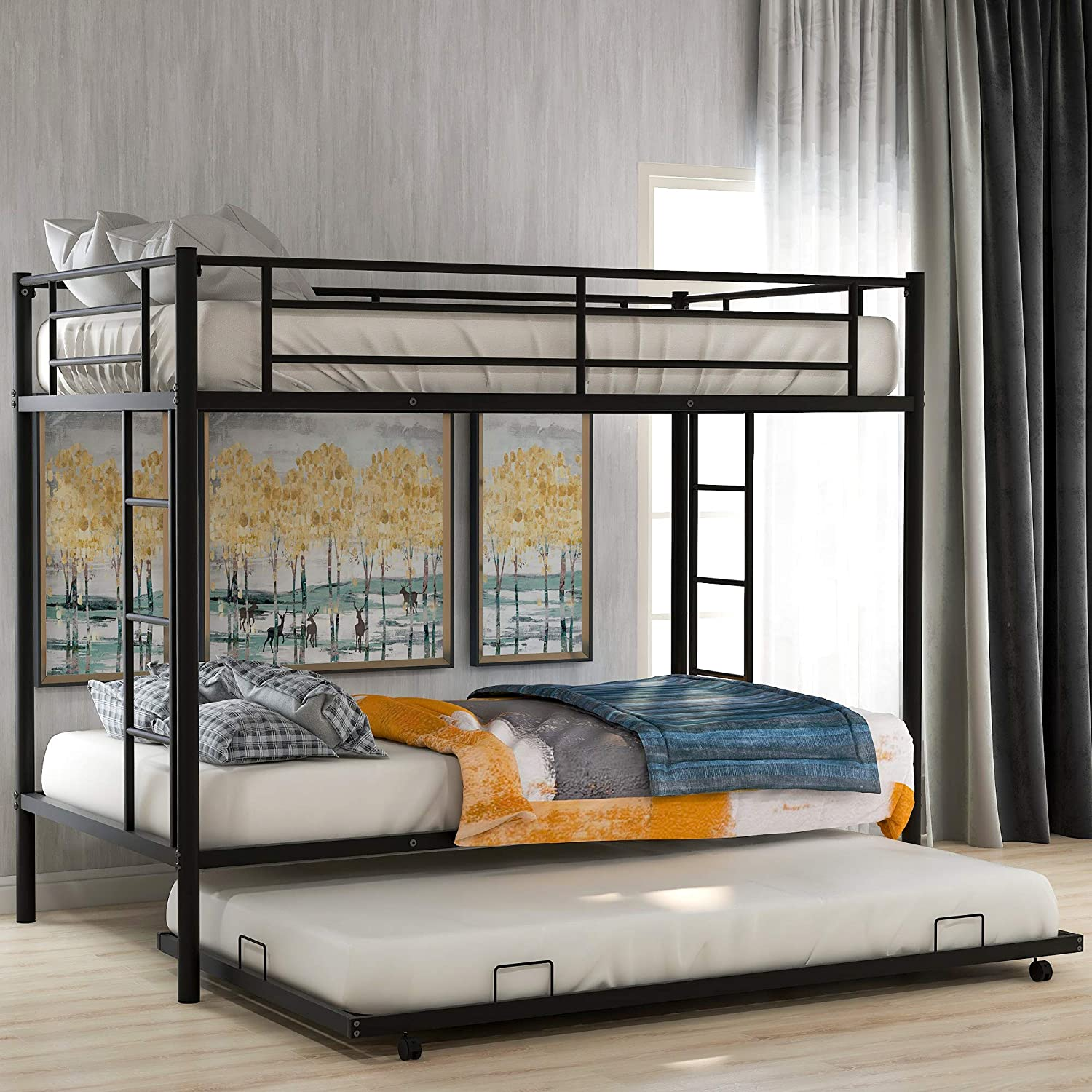 P PURLOVE New item Metal Bunk Bed Twin Trundle Over wi with Max 52% OFF