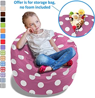 BeanBob Stuffed Animal Bean Bag - Kids Stuffed Animal Storage Bag Chair - Pouf Ottoman for Toy Storage 2.5ft, Pink with Polka dOTS