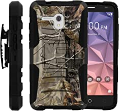 Alcatel One Touch Fierce XL Case, Full Body Rugged Armor Shell Belt Holster Clip Case with Exclusive Illustrations for Alcatel Fierce XL by Miniturtle - Fallen Leaves Camouflage