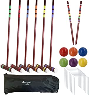 Juegoal Six Player Deluxe Croquet Set with Wooden Mallets, Colored Balls, Brown Vintage Style, Sturdy Bag for Adults &Kids...