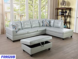 Beverly Fine Funiture Sectional Sofa Set, SILVER