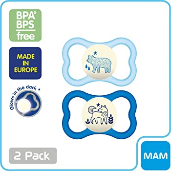 MAM Air Night Pacifiers (2 pack, 1 Sterilizing Pacifier Case), MAM Sensitive Skin Pacifier 6+ Months for Baby Boy, Gl...