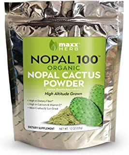 Maxx Herb Nopal 100, Organic Green Nopal Cactus Powder (12 oz), for Healthy Digestion & Blood Sugar Balance...