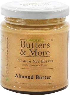 Butters & More Vegan Natural Almond Butter (200G) Single Ingredient, Unsweetened Nut Butter. Creamy, Keto & Diabetic Frien...