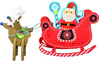 Big Mo's Toys Holiday Crafts - Christmas Foam Arts N Craft Santa Riding A Reindeer Sleigh Table Top Decorations Kit for Kids