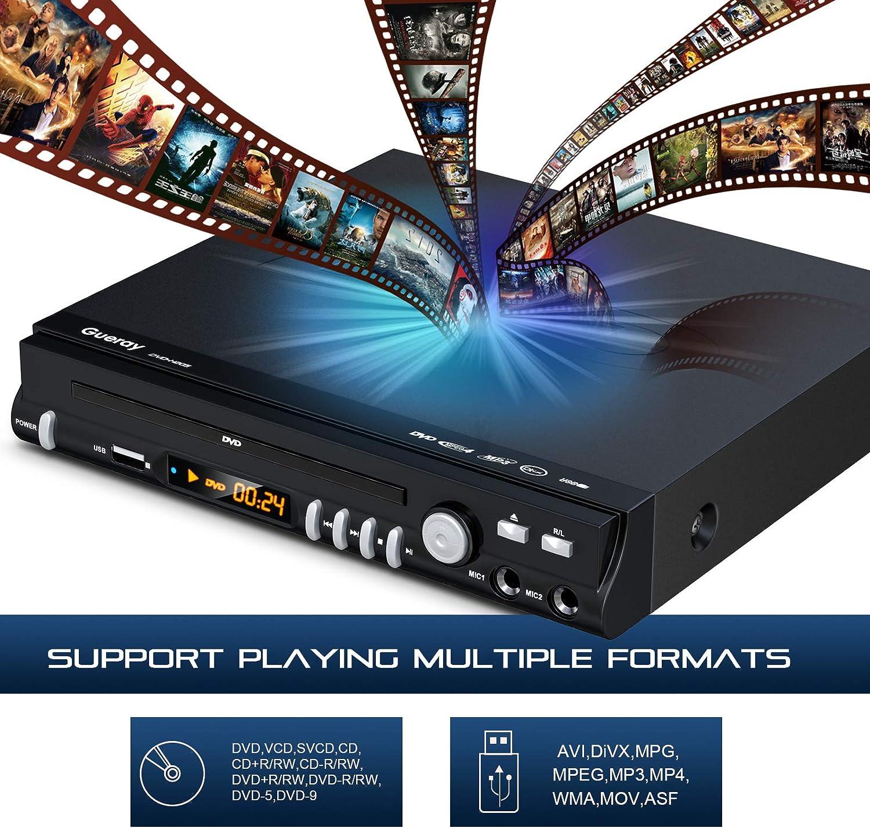 Gueray Kompakter DVD Player, DVD-Player All Regionen mit 2 MIC  Ports/USB-Eingang/HDMI/AV und Fernbedienung für TV: Amazon.de: Elektronik &  Foto