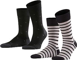 Even Stripe & Dot Pack of 2 Calcetines, Multicolor (Black 3000), 39/42 (Pack de 2) para Hombre