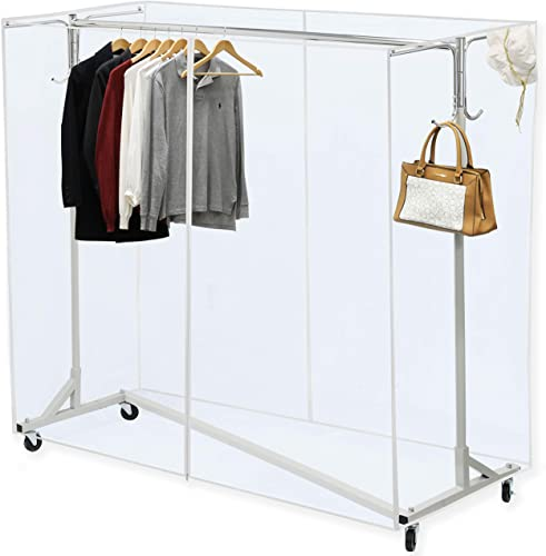 """2021 Simple online sale Houseware Industrial Grade Z-Base Garment Rack, 400lb Load with 62"""" Extra outlet sale Long bar w/Clear Cover and Tube Bracket outlet sale"""