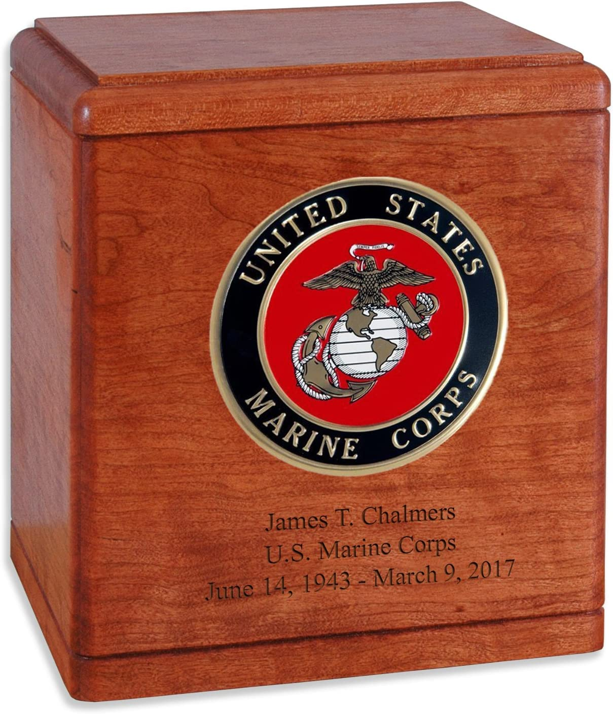 Cherry Wood Military Cremation Urn Corps Veteran Max 42% OFF Marine for The Ranking TOP16