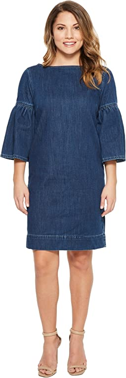 Petite Denim Bell Sleeve Shift Dress