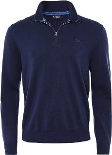 Men's Cotton Silk Half-Zip Jumper Navy