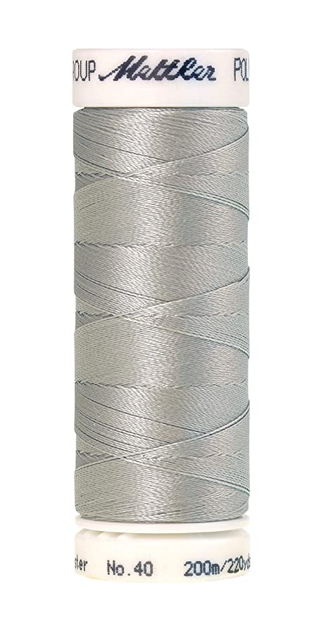 Mettler Poly Sheen 40 Weight Polyester Embroidery Thread, 220 yd, Light Silvery Grey