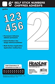 Headline Sign 32622 Stick-On Vinyl Numbers, White, 6-Inch