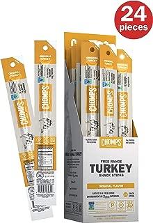 CHOMPS Free Range Antibiotic Free Turkey Jerky Snack Sticks, Keto & Paleo Friendly, Whole30 Approved, Non-GMO, Gluten & Sugar Free, 70 Calorie Snacks, 1.15 Oz Meat Stick, Pack of 24