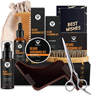 MayBeau Beard Kit for Men Set of 8 Beard Growth Grooming & Trimming with Unscented Leave-in Conditioner Oil,Beard shaping, Beard Balm Butter Wax, Brush and Mustache Comb Ultimate Trimmer Set for Men