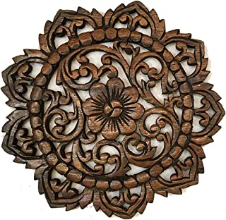 Asiana Home Decor Rustic Wall Decor-Carved Lotus Round Wood Plaque Size 12