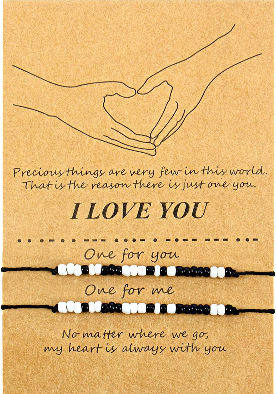 Valentines Morse Code Bracelet I Love You Friendship Couple Family Bracelet Gift