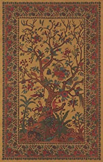 India Arts Absolutely Stunning Golden Tree of Life Tapestry Wall Hanging Tablecloth Throw Coverlet Bedspread Furniture Cover Room Divider - Twin