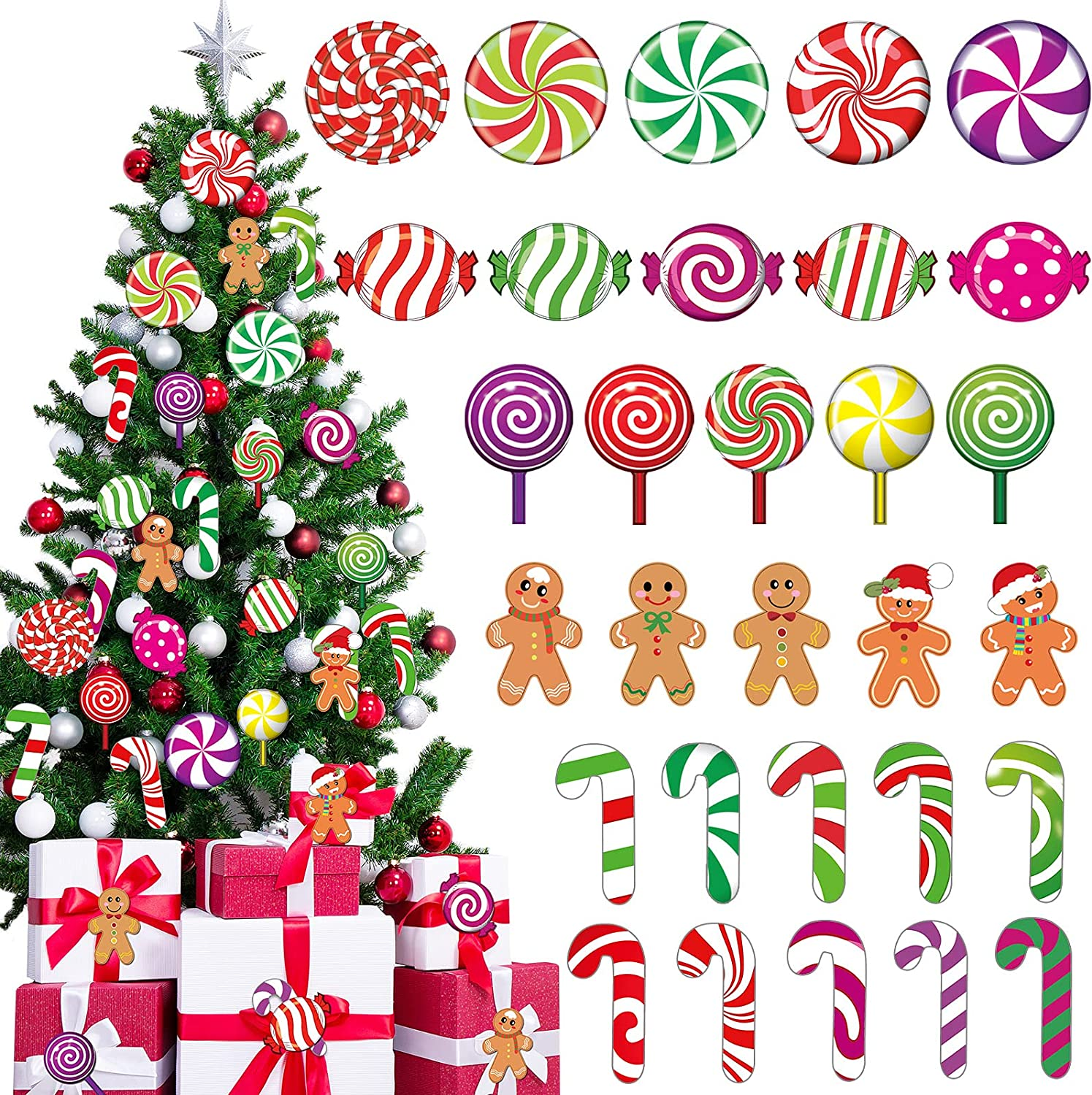 60 Pieces Peppermint Cutouts Christmas Candyland Wall Decor Floor Decal Stickers Colorful Gingerbread Candies Round Lollipop Candy Cane Cutout for Xmas Candy Party Decor Classroom Bulletin Board Decor
