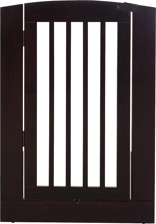 BarkWood Pets Freestanding Wood Pet Gate Extension Panel with Walk-Thru Door, 24