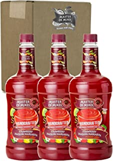 Master of Mixes Strawberry Daiquiri / Margarita Drink Mix, Ready To Use, 1.75 Liter Bottle (59.2 Fl Oz), Pack of 3