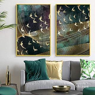 Imágenes en lienzo cielo nocturno pájaros impresos lienzo pintura sala de estar pared abstracta imágenes artísticas decora...