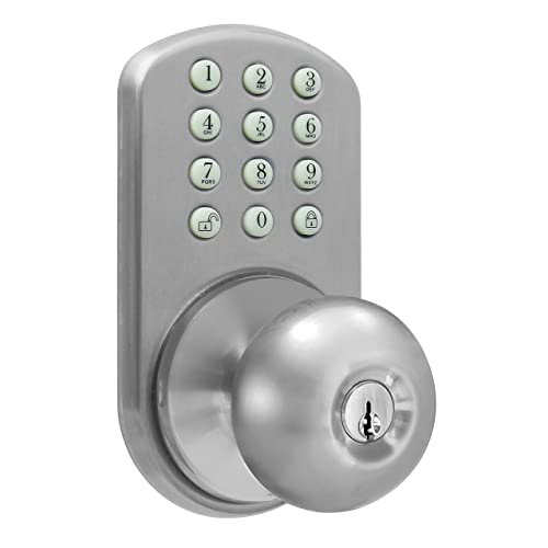 MiLocks TKK-02SN Tkk-Sn Digital Door Knob Lock with Electronic Keypad for Interior Doors, Satin Nickel