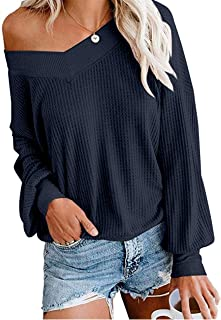 Women's V Neck Long Sleeve Waffle Knit Top Off Shoulder Pullover Slouchy Sweater