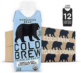 Wandering Bear Extra Strong Organic Cold Brew Coffee On-the-Go, Vanilla + Splash of Coconut Milk, 11 fl oz, 12 pack - Smoo...