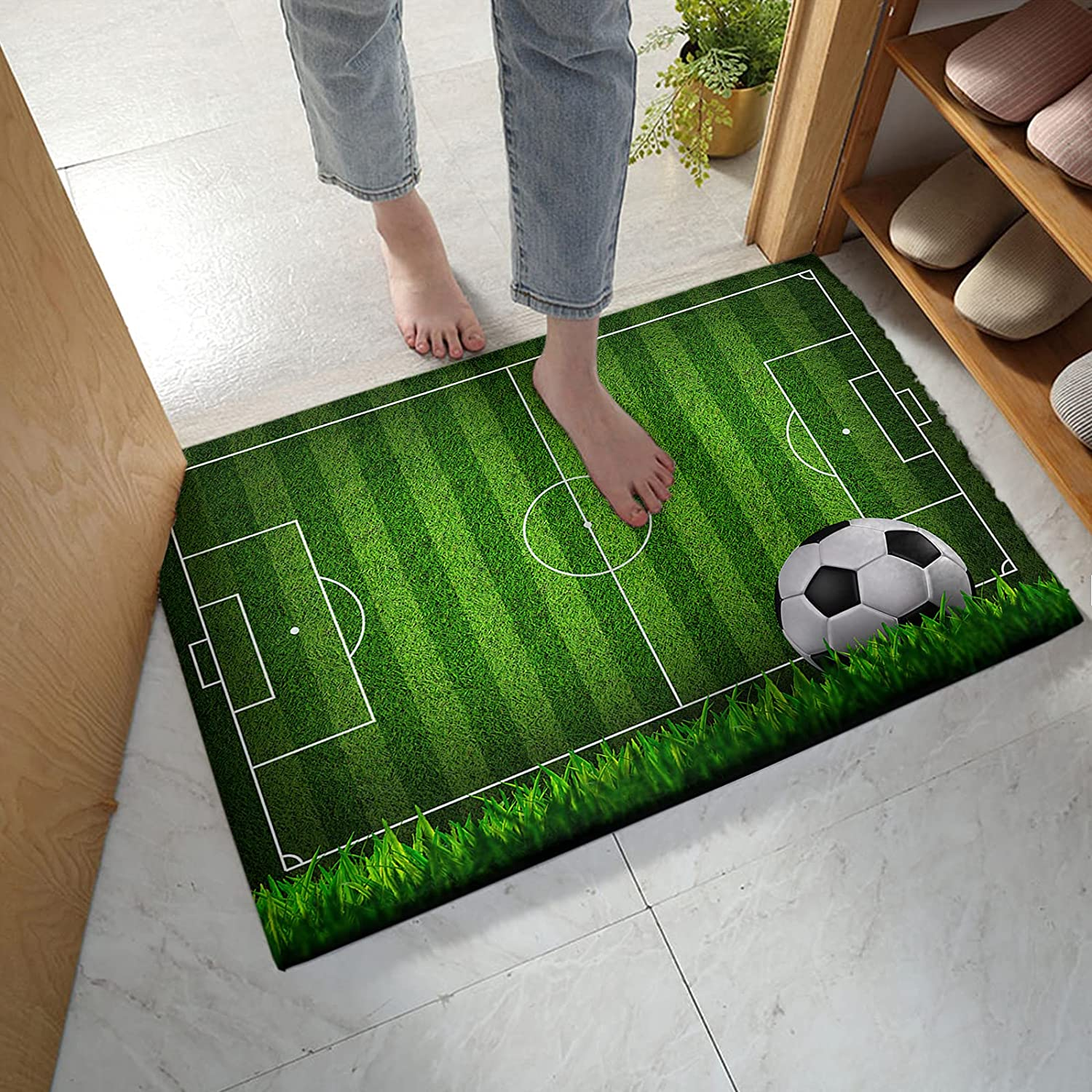 Fangship Bathroom Rug Bath Mat Don't miss the campaign Shipping included Green Sport Football Soccer Field
