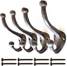 Rustic Dark Brown Cast Iron, Wall Mounted Hooks (Set of 4) Vintage Inspired | Modern Farmhouse | Coats, Bags, Hats, Towels… | Matching Screws Included | by My Fancy Farmhouse (Brown/Black)